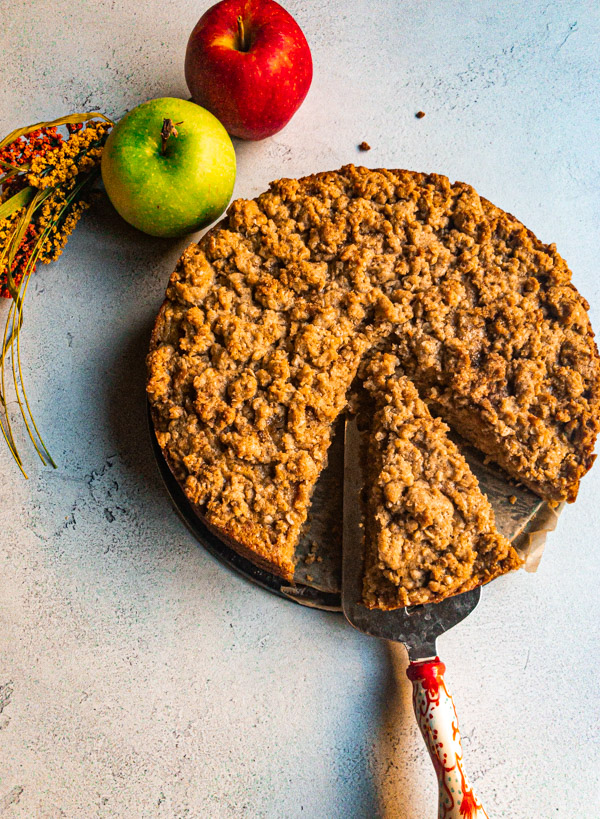 Apple Spiced Oat Cake with a Tahini Maple Crumble