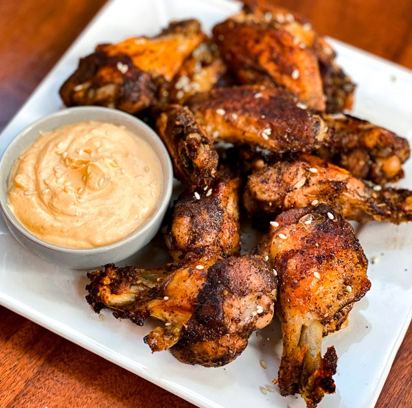 Baked Chicken Wings with Spicy Tahini Dipping Sauce