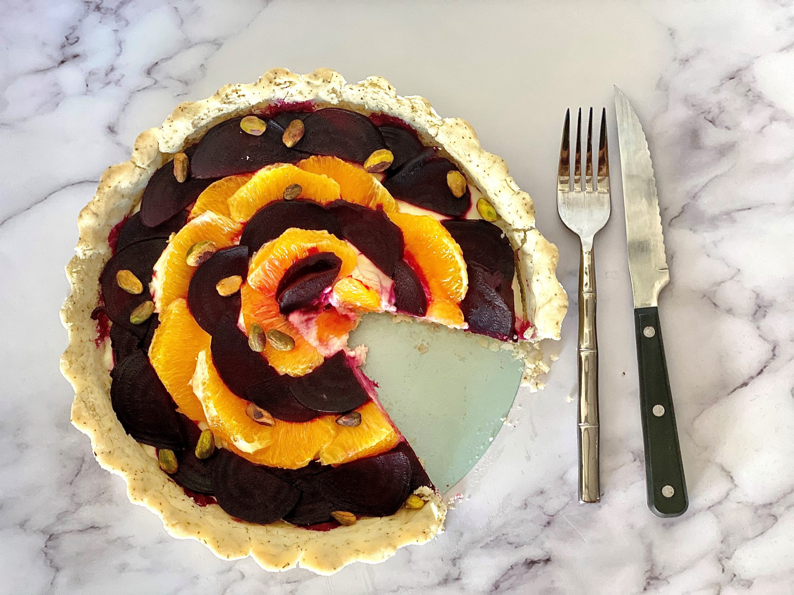 Beet and Orange Goat Cheese Tart with Tarragon Crust