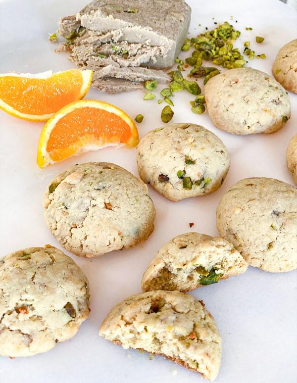 Vegan Pistachio Orange Tahini Cookies