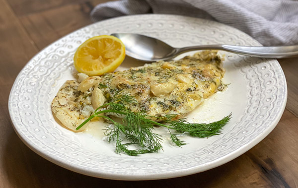 Baked Cod with Lemon Dill Sauce